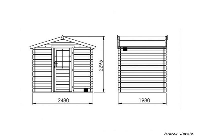 Abri de jardin en bois, Kariba 4.9 m², 19 mm, avec toit en feutre bitumeux, rangement, Forest-style, achat, pas cher