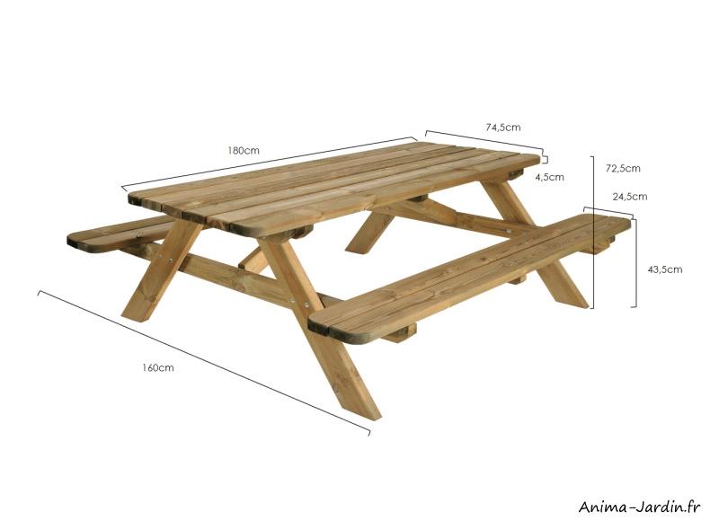 Table pique nique en bois traité autoclave-forestière-180 cm-Robuste-achat-pas cher-Anima-Jardin.fr