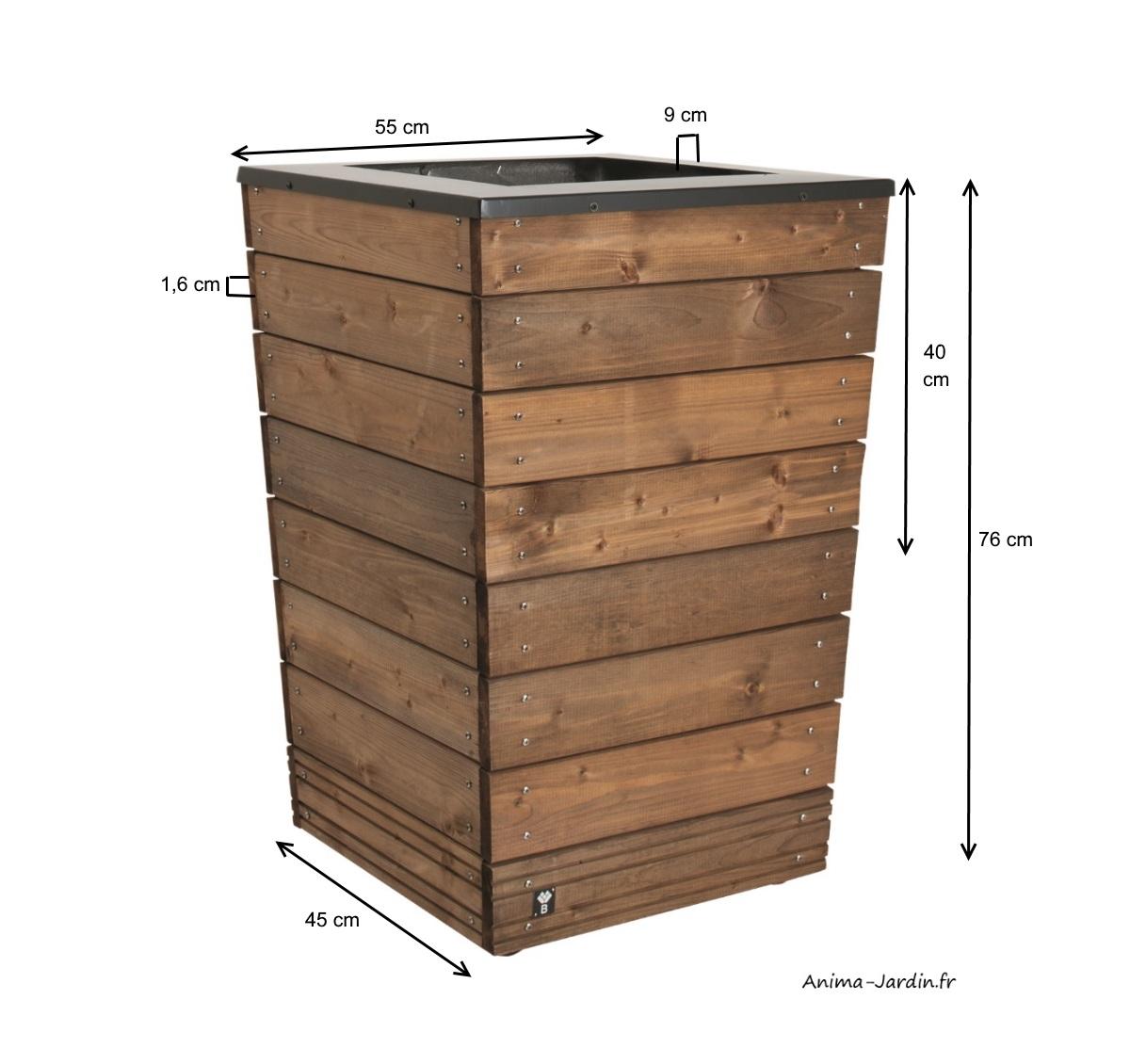 Bac-collector-90L-bois autoclave et métal-bac à fleurs-Burger-Anima-Jardin.fr