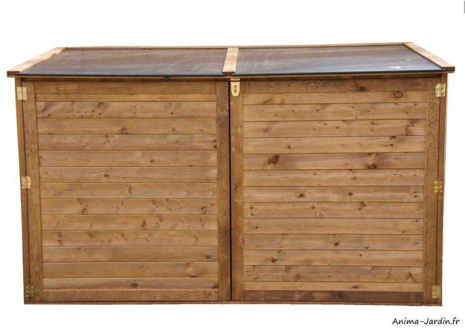 Coffre de rangement extérieur-en bois- traité autoclave-multifonctions-Trocadéro-coffre de jardin-Anima-Jardin.fr
