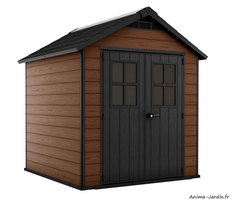 Abri en résine-Woodium 757-4,04 m²-aspect bois-abri de jardin-Anima-Jardin.fr