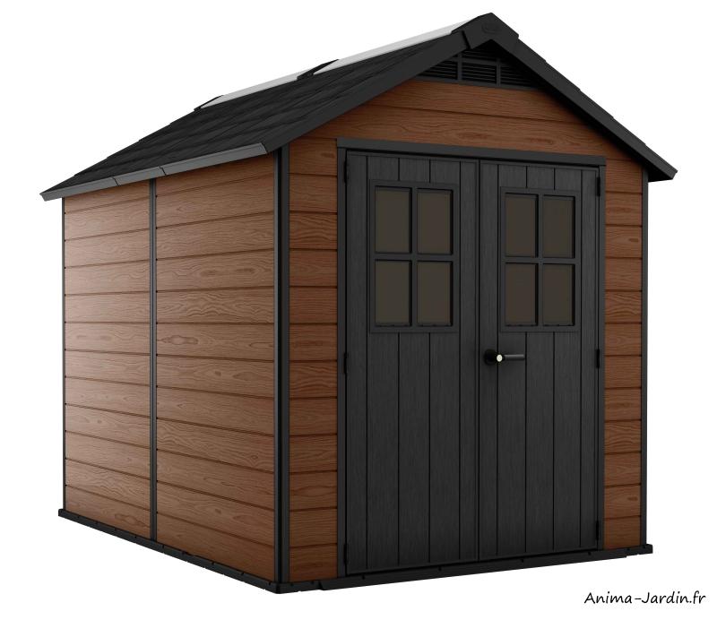 Abri en résine-Woodium 759-5,7 m²-aspect bois-abri de jardin-Anima-Jardin.fr