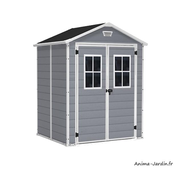 abri en résine-Premium 65 DD-2,3 m²-gris et blanc-abri de jardin-achat-Anima-Jardin.fr