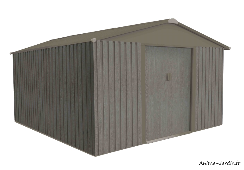 Abri de jardin en métal-9,05 m²-aspect bois vieilli-gris-rangement extérieur-achat-pas cher-Anima-Jardin.fr
