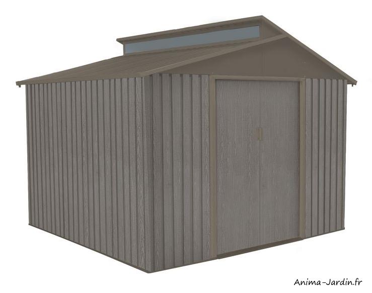Abri de jardin en métal-6,54 m²-aspect bois vieilli-gris-rangement extérieur-achat-pas cher-Anima-Jardin.fr