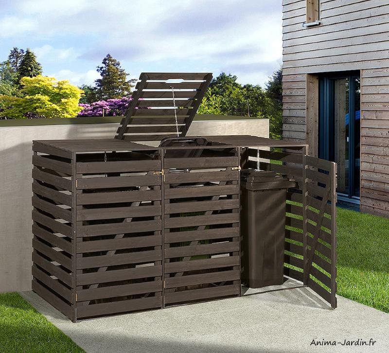 Cache-poubelles en bois-219 cm-3 poubelles-achat-Anima-Jardin.fr
