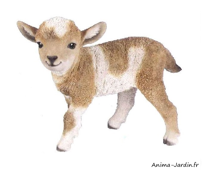 agneau marron et blanc-animal en résine-Anima-Jardin.fr