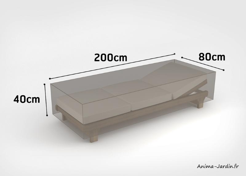 Housse de qualité pour chaise longue-200x80 cm-housse étanche-Nortene-pas cher-achat-Anima-Jardin.fr