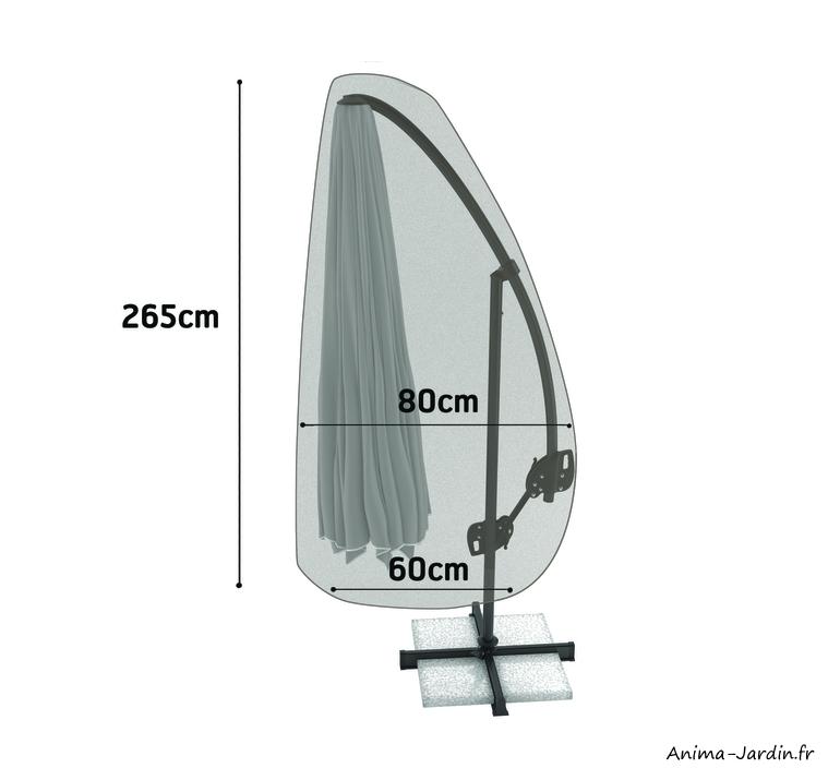 Housse de qualité pour parasol-265x80 cm-housse étanche-Nortene-pas cher-achat-Anima-Jardin.fr