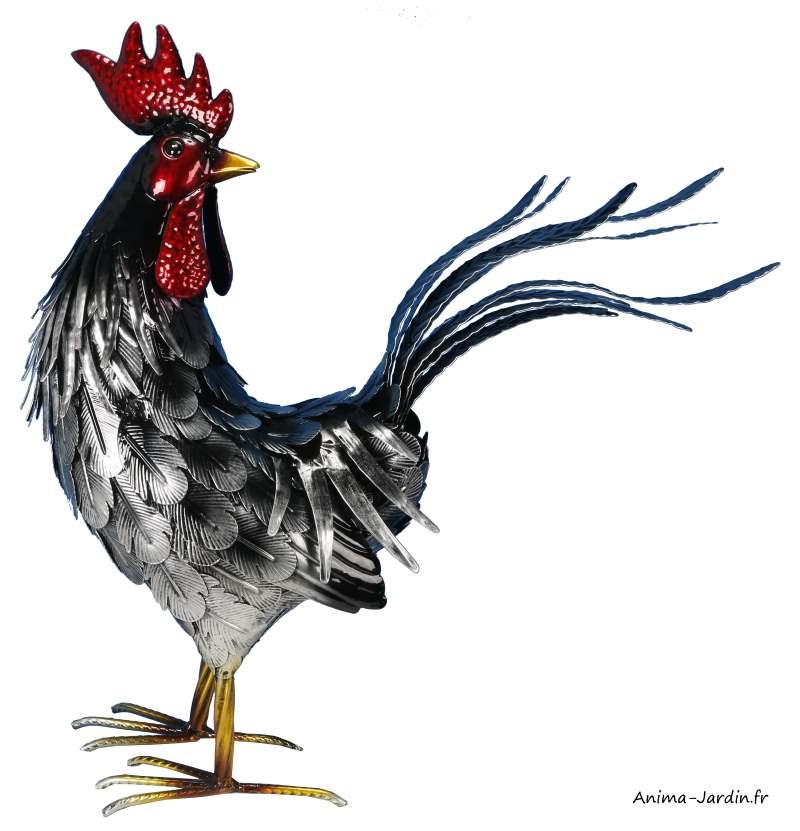 Coq-métal-argent-48 cm-décoration du jardin-animal de la ferme-Riviera-achat
