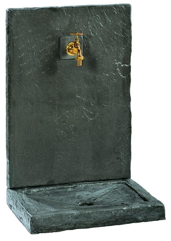 Fontaine murale ardoisée noir-64cm-pierre reconstituée-Anima-Jardin.fr