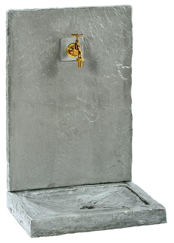 Fontaine murale-64 cm-ardoisée zinc-pierre reconstituée-Anima-Jardin.fr