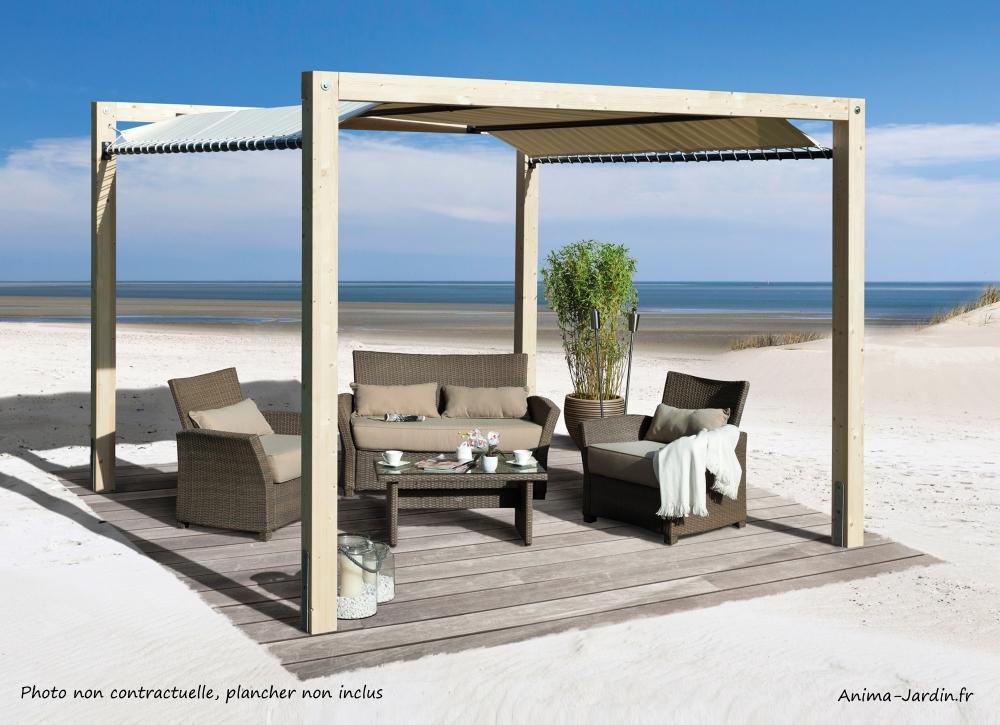 Oasis de jardin en bois avec toile imperméable-tonnelle-jardin-protection contre le soleil-achat-anima-jardin.fr