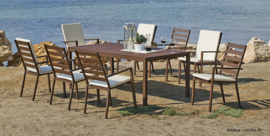 Salon à manger en aluminium-Sarana 200-8-bronze-marron-avec coussins épais-Hévéa-Anima-Jardin.fr