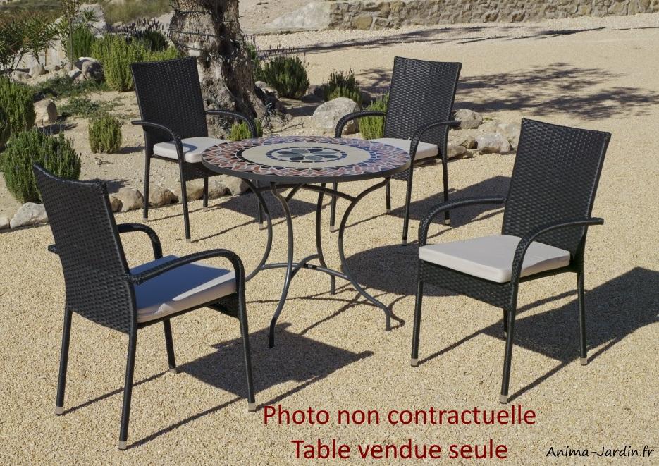 Petite table mosaïque-table à manger-ronde-Cambel90-Hévéa-Anima-Jardin.fr