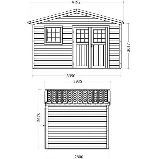 Abri de jardin en bois-Shelty+ 11 m²-28 mm-avec toit en acier galvanisé-dimensions-Anima-Jardin.fr