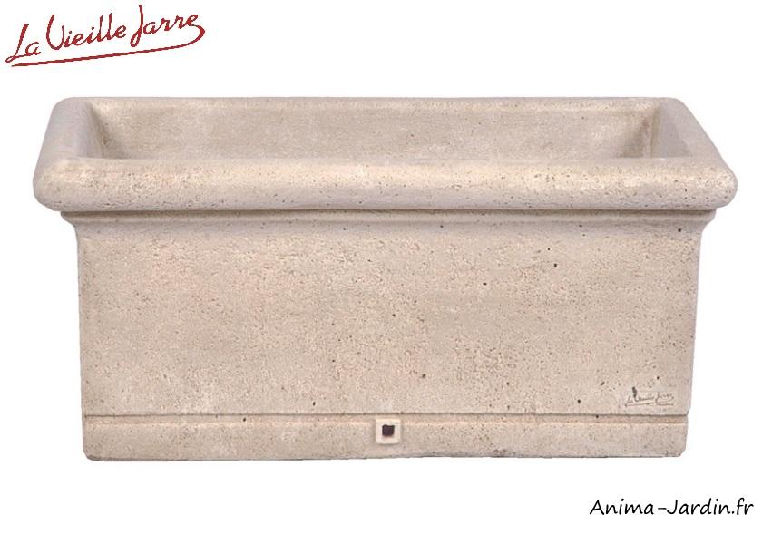 Bac rectangulaire-jardinière-70cm-pierre reconstituée-la Vieille Jarre-Anima-Jardin.fr