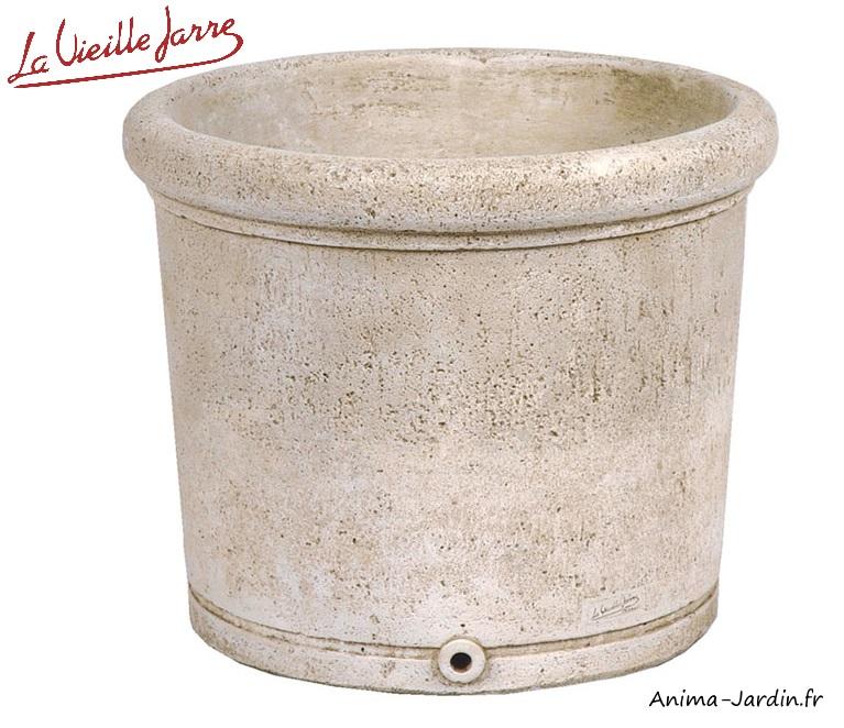 pot rond-La Vieille Jarre-pierre reconstituée-54cm-Anima-Jardin.fr