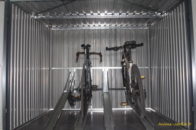 Coffre en métal-rangement vélos-3,48 m²-avec rails-achat-Anima-Jardin.fr