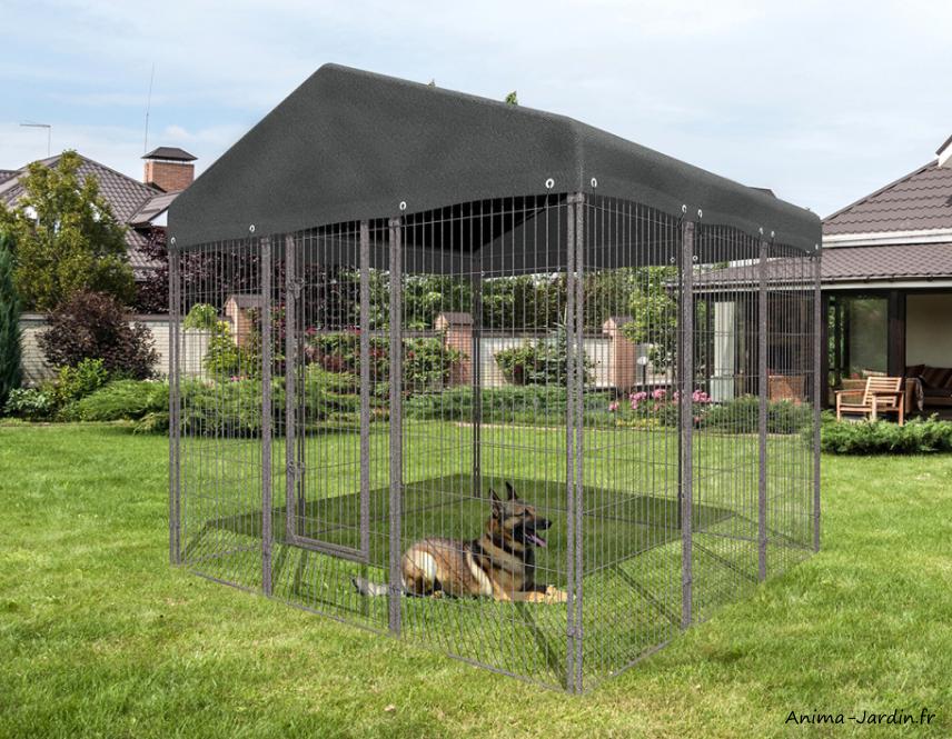 Chenil-en métal-chiens-avec porte-medium-Zolux-avec toit-Anima-Jardin.fr