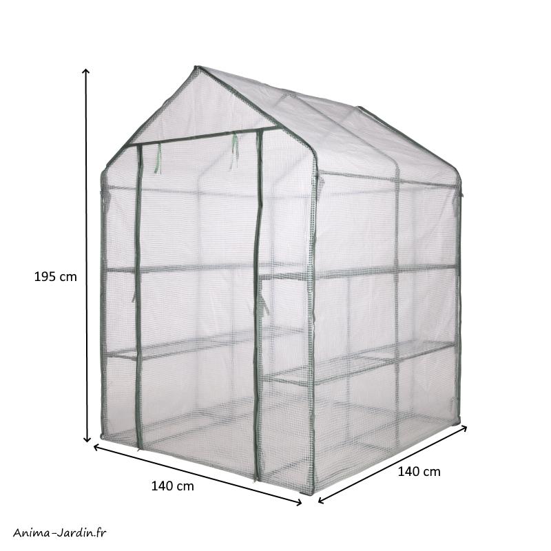 Serre de jardin souple-2m²-étagères-housse renforcée-serre pas cher-Nature-achat-Anima-Jardin.fr