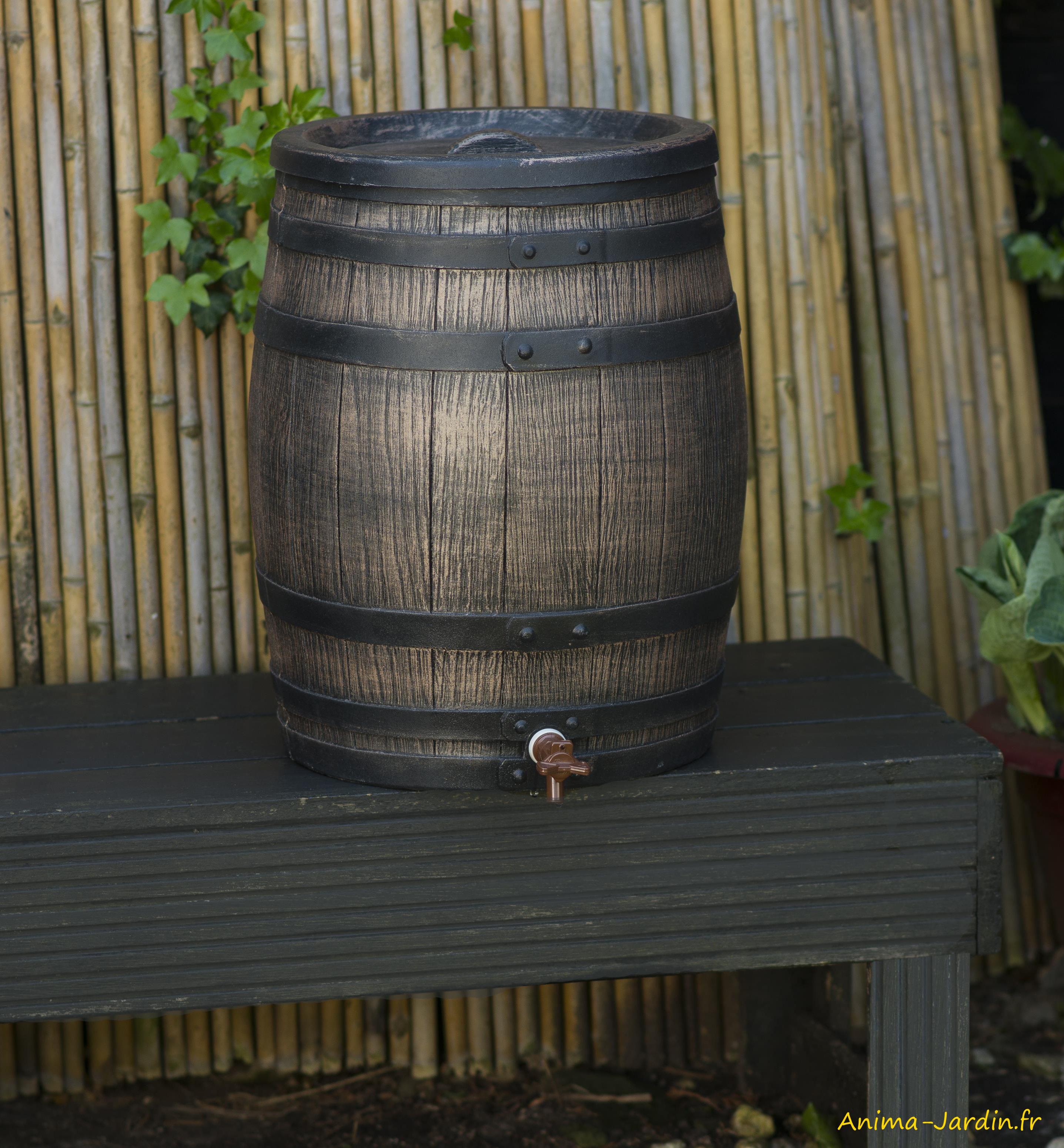 Récupérateur d'eau-imitation barrique-résine-Nature Jardin-Anima-Jardin.fr