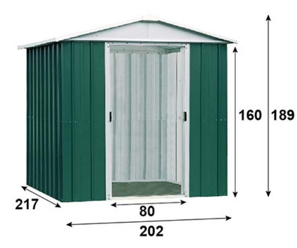 Abri en métal-vert-4,38m²-dimensions-Trigano-Anima-Jardin.fr