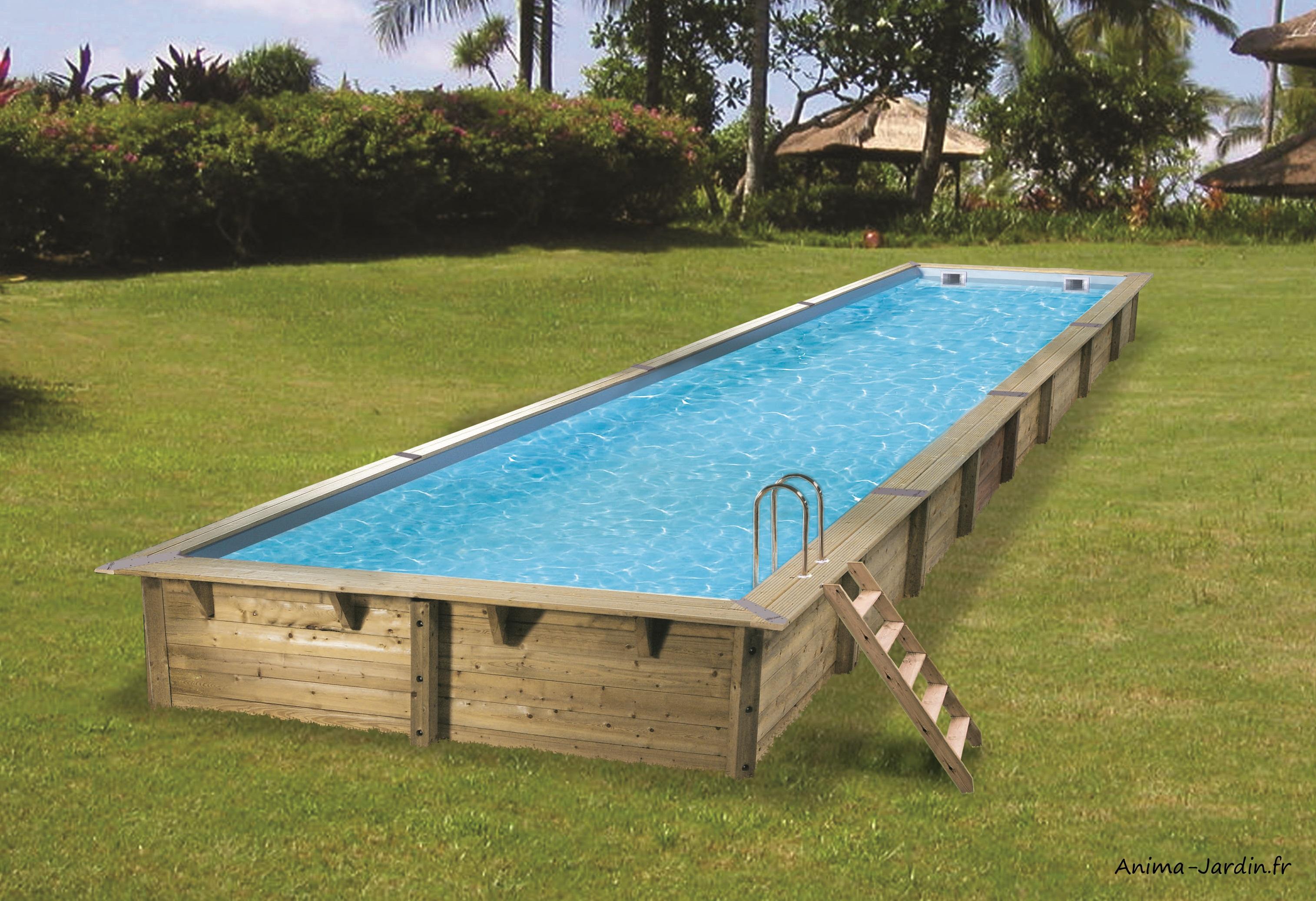 Grande piscine-Linéa-15,50m-H155 cm-rectangulaire-entourage bois-Ubbink-Anima-Jardin.fr