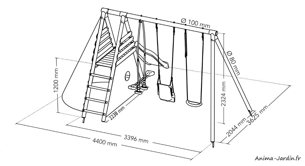 portique en bois-station caramel-balançoire-toboggan-vis-à-vis-siège bébé-cabane-Soulet
