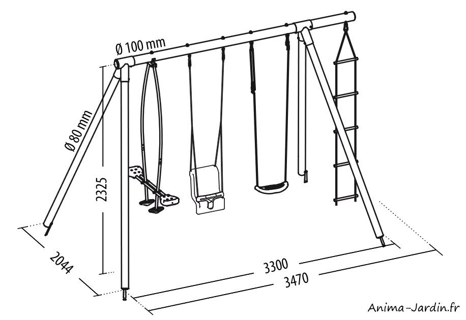 Dimensions-portique en bois-balançoire-Soulet-aire de jeux-Anima-Jardin.fr