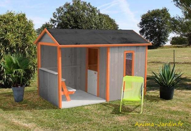 Maisonnette enfant-Cyrielle-cabane en bois-petit chalet-EGT-Anima-Jardin.fr