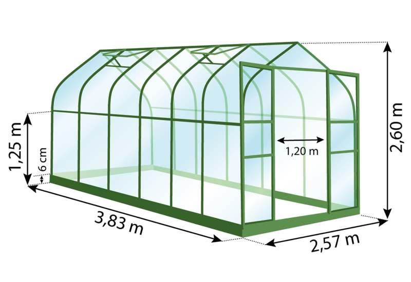 Serre de jardin, aluminium, 9,85 m², dimensions, lams, Anima-Jardin.fr