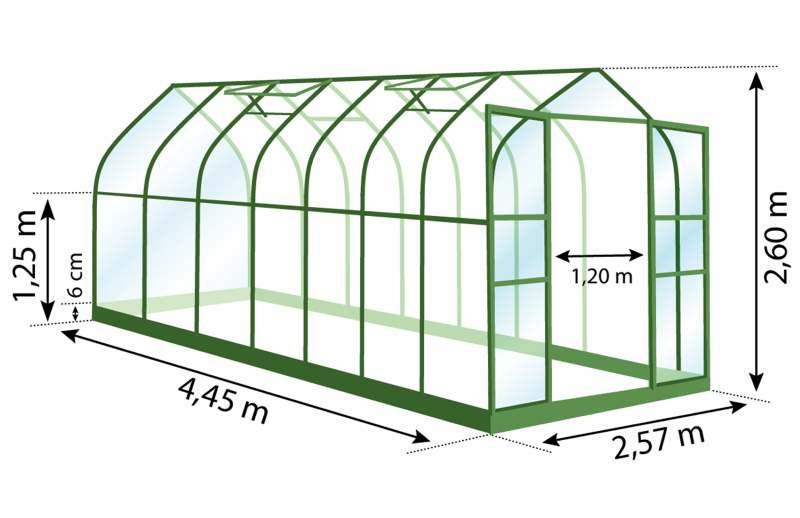 Serre de jarin en aluminium, aloé diana, 11,45 m², dimensions, Anima-Jardin.fr