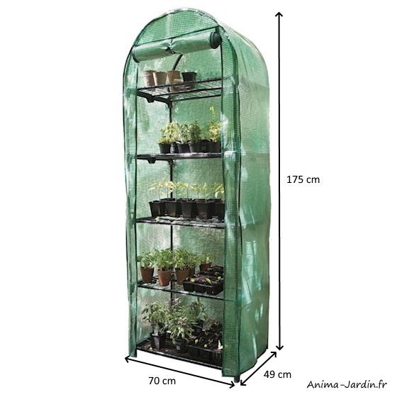 Petite serre de jardin et balcon-5 étages-hauteur 175 cm-protection froid-achat-pas cher-Anima-Jardin.fr