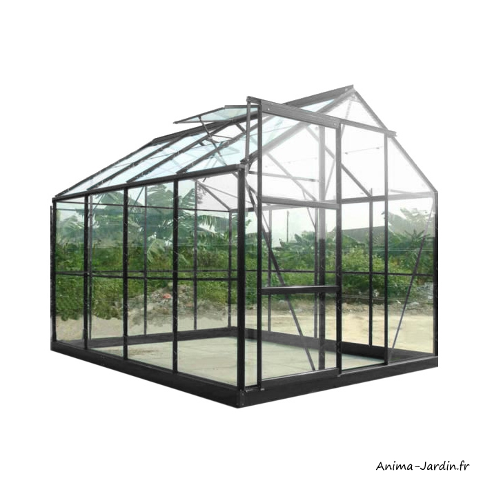 Serre de jardin en aluminium laqué-anthracite-4,65 m²-verre trempé-avec base-achat-pas cher-Anima-Jardin.fr