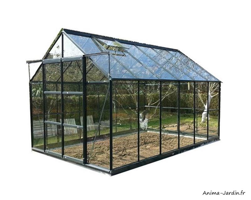Serre de jardin en aluminium laqué-anthracite-7,56 m²-verre trempé-avec base-achat-pas cher-Anima-Jardin.fr