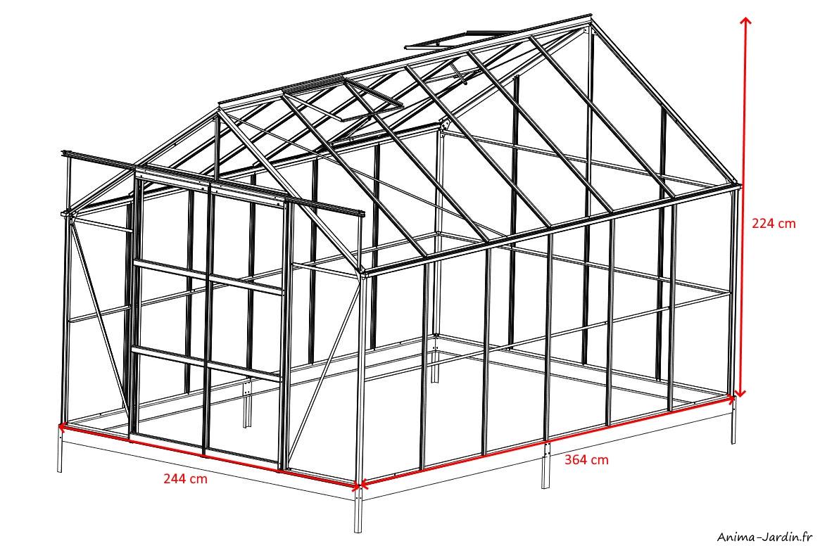 Serre de jardin en aluminium laqué-128-gris-8,88m²-verre trempée-avec base-dimensions-achat-pas cher-Anima-Jardin.fr