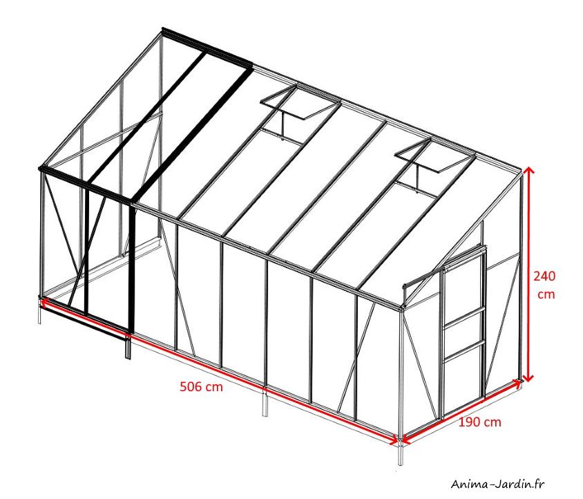 Serre de jardin en aluminium laqué-Solarium-9,6m²-anthracite-verre trempé-avec base-achat-pas cher-Anima-Jardin.fr
