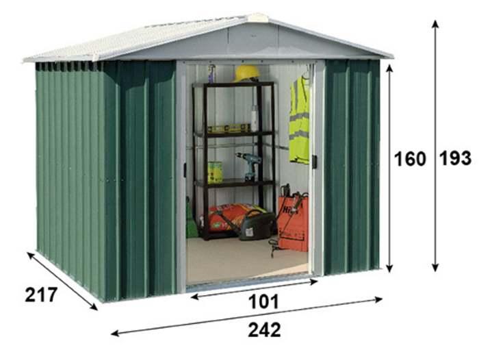 Abri métal-vert-5,25m²-dimensions-Trigano-Anima-Jardin.fr