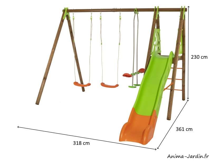 Portique Akeo-bois-métal-2,30m-3 agrès-1toboggan-dimensions-Anima-Jardin.fr