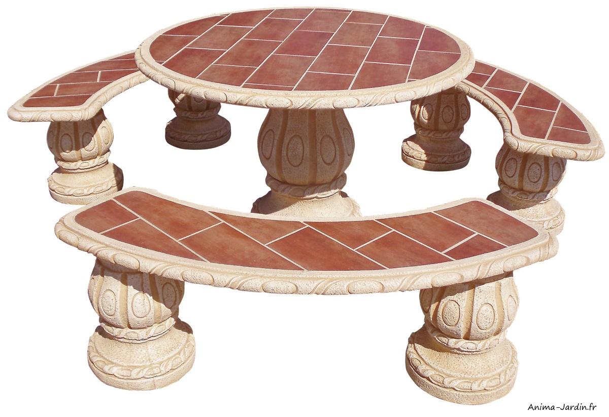 Salon en pierre reconstituée-Alamo Madera Ocre-bancs et table-Framusa-Anima-Jardin.fr