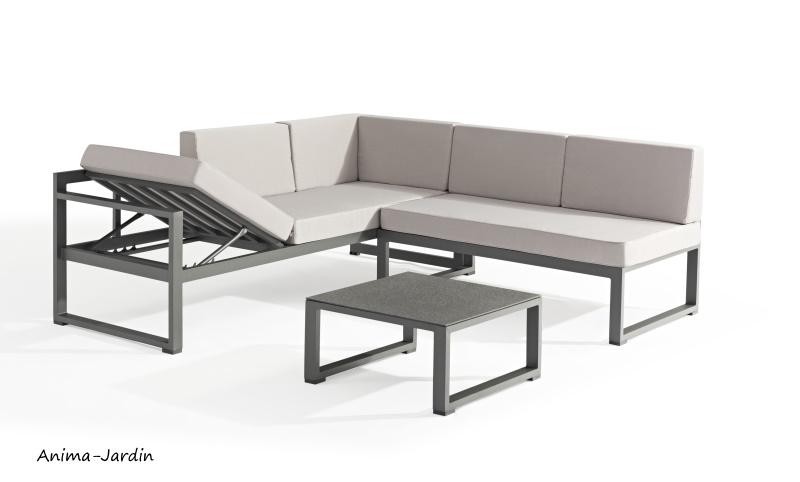 Salon de jardin en aluminium, gris, Relax, canapé d'angle, canapé modulable, pas cher