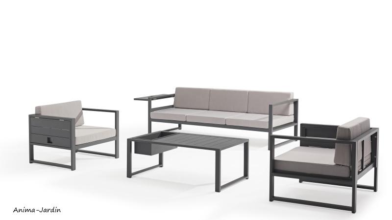 Salon de jardin en aluminium, gris, Sun, salon d'extérieur, canapé, fauteuils pas cher