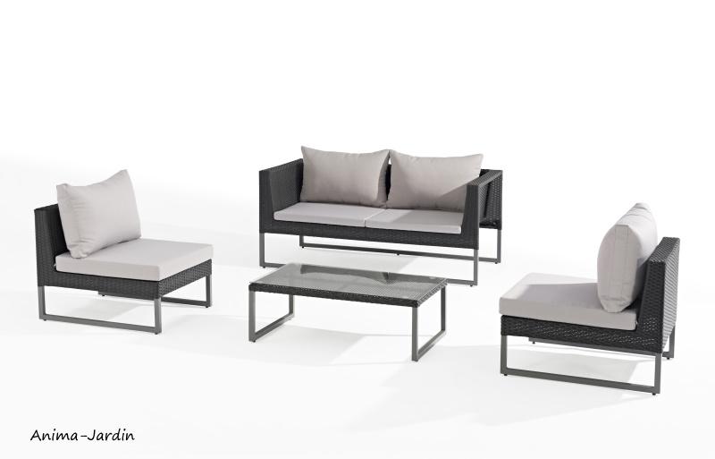 Salon de jardin en aluminium, gris, Clever, salon d'extérieur, canapé, fauteuils pas cher