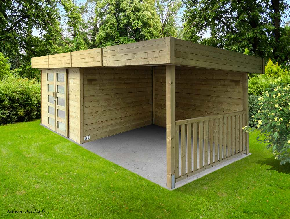 Abri de jardin toit plat-28mm-moderne-Solid-Arhus-achat-Anima-Jardin.fr