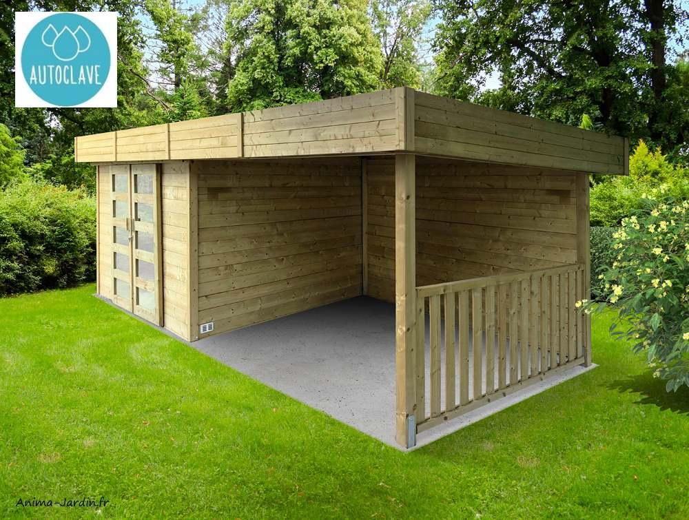 Abri de jardin en bois-toit platè-autoclave-28mm-moderne-Solid-arhus-Anima-Jardin.fr