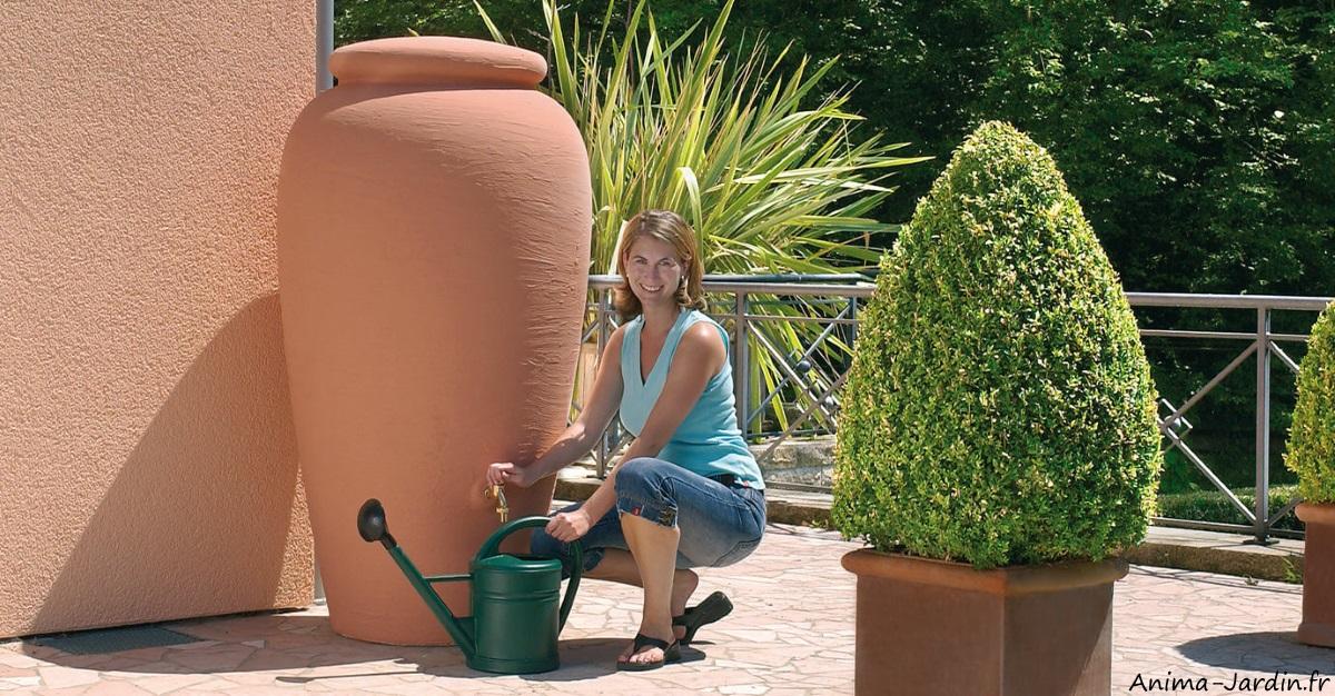 Amphore-récupérateur d'eau-Terracotta-eau de pluie-Graf-Anima-Jardin.fr