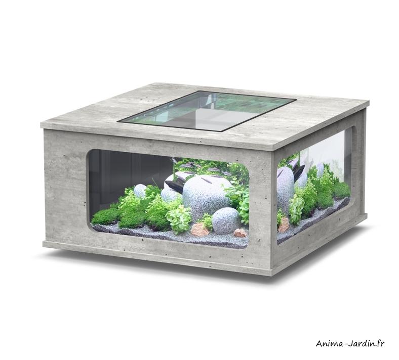 Aquarium-Aquatable-100x100 cm-capacité 307L, inclus éclairage et filtre-Aquatlantis-Anima-Jardin.fr