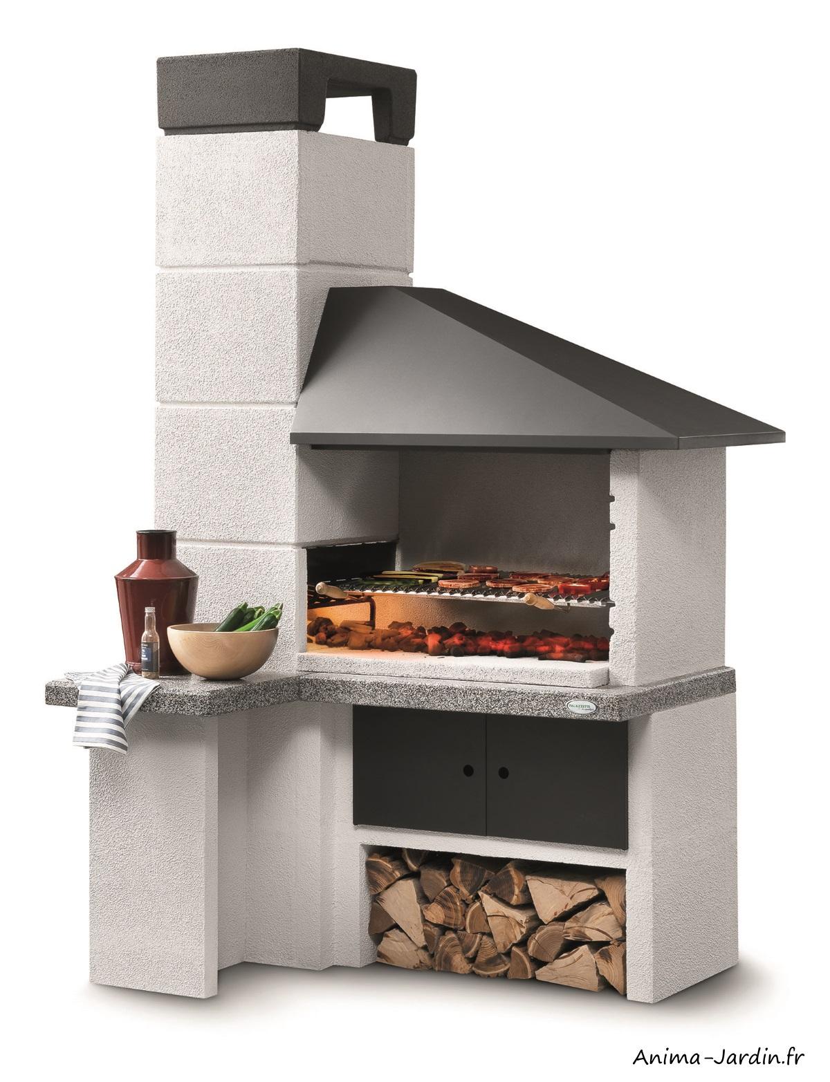 Barbecue en perre-Faro New-design-marmotech-gris-charbon de bois-Palazzetti-Anima-Jardin.fr