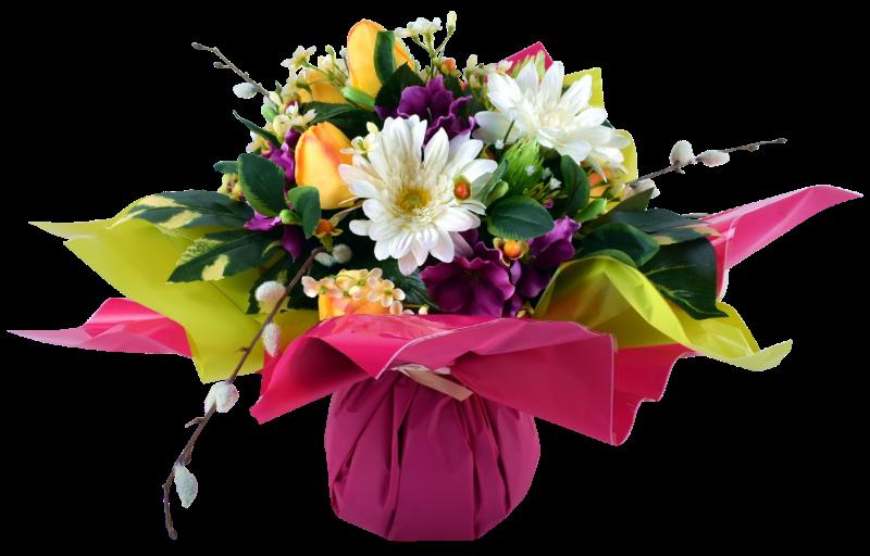 Bouquet Bulle Tulipe Gerbera & Delphinium, H. 34 cm, fleur artificielle, déco jardin, pas cher. Ressemblance avec le naturel